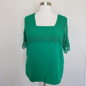 Jessica London Plus Size 22/24 Green Crochet Top